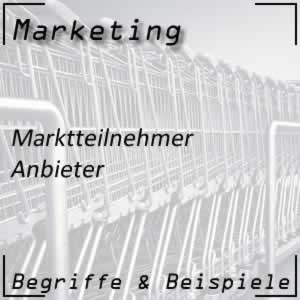 Marktteilnehmer Anbieter