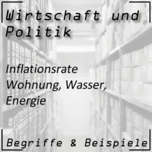 Inflation Wohnung, Wasser, Energie